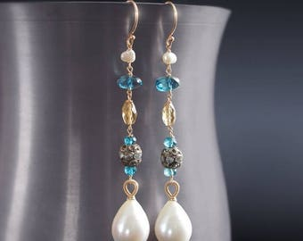 ON SALE - Custom Made to Order - 14K Solid Gold Dangle Pearl and London Blue Topaz Earrings