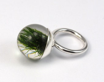 Moss Resin Ring, Sterling Silver Ring, Resin Jewellery