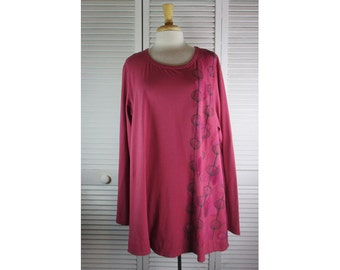 Curve Tunic Rose Organic Knit w/ Art Nouveau 2X Ready to Ship