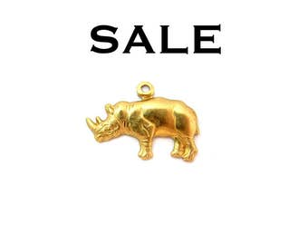 LOW Stock - Raw Brass Rhinoceros Charms - Left Facing (12X) (M630-B) SALE - 25% off