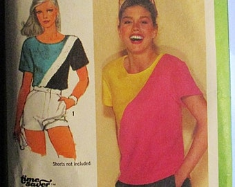 1980s Vintage Sewing Pattern Simplicity 9469 Misses Pullover Tops Pattern Size 8, 10, 12