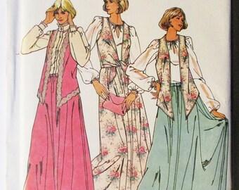 1980s Vintage Sewing Pattern Butterick 6266 Misses Vest & Skirt Pattern Size 14, 16, 18 Uncut