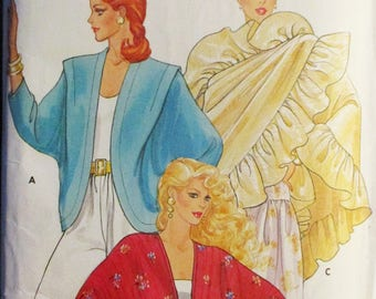 1980s Vintage Sewing Pattern Butterick 4658 Misses Cover-ups & Shawl Pattern Size Small