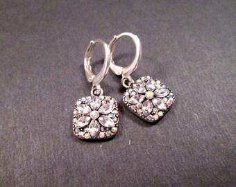 Rhinestone Flower Earrings, Silver Dangle Hoop Earrings, FREE Shipping U.S.