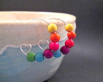 Changeable Beaded Earrings, Rainbow Howlite Stone, Silver Heart Hoop Earrings, FREE U.S. Shipping
