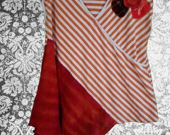 2x Asymmetric Boho Style Floral Top Blouse  Plus Size Recycled Clothing Flower Orange Stripes