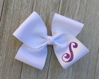 Large White Monogrammed Hair Bow,Letter S,Alligator Clip,More Letters and Colors Available