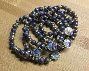 Pearl and Abalone Stretch Bracelets