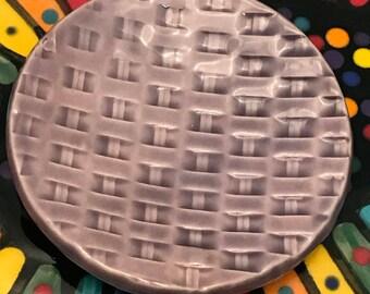 "Trinket Ring Dish Teabag Dish 3"" Lavender Celadon Weave Pattern Mother's Day Gift Ready to Ship"