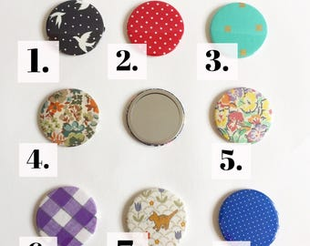 SALE Round Pocket Compact Mirror made from Vintage and modern fabric scraps
