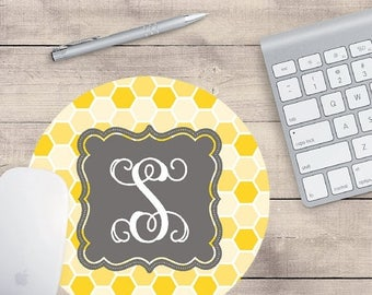ON SALE Round monogrammed mousepad in yellow and gray is a great gift and desk accessory