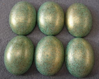 6 Pieces Metallic Light Green High Dome 40x30mm Acrylic Cabochons