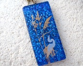Heron Necklace, Dichroic Jewelry, Fused Glass Jewelry, Dichroic  Necklace, Heron Jewelry, Glass Jewelry, Bird Jewelry,Gold Chain, 111216p102