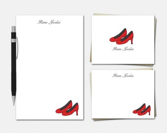 Red High Heels Stationery Set - Red High Heels Stationery - Personalized Stationery for Her - Red High Heels Stationery Set