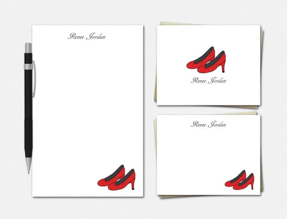 Personalized Red High Heels Stationery Set - Red High Heels Stationery - Stationary for Her - Red High Heels Stationery Set