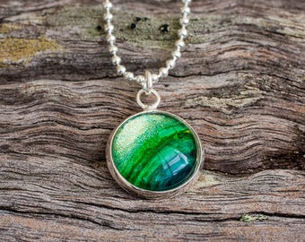Hand painted shimmering green pendant necklace