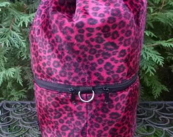 Faux fur large knitting bag, drawstring bag, knitting in public bag, large project bag, Red Leopard, Large Kipster