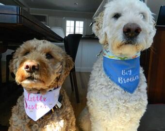 Big Brother Little Sister Dog Bandana, Dog Gift, Dog Gear, Dogs, Pet Gift, Reversible Bandana, Personalized Dog Gift, Funny gift, Dog Collar