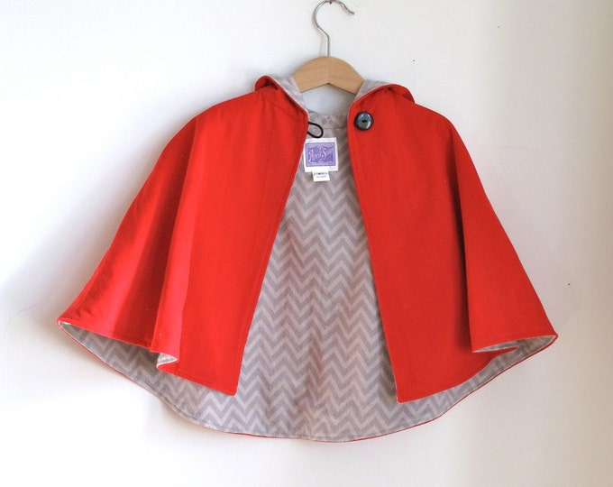 Girls' Little Red Riding Hood Girls' Cape with Gray Chevron Lining, Girls' Capelet, Winter Coat, Girls' Poncho, Girls' Cape Size 7/8