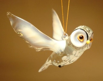 Handmade Blown Glass Figurine Art Bird Hanging White Polar OWL Ornament