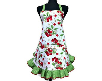 Retro Cherry Apron for girls, Red Cherries on White with a Green Retro style ruffle, Rockabilly Kitchen Decor, Pinup girl, bakery