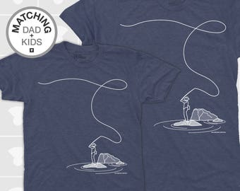 SALE! Matching Daddy Daughter Shirts, Dad and Baby Matching TShirts, Dad and Son Shirts, Fly Fishing Gift, Father Child Matching