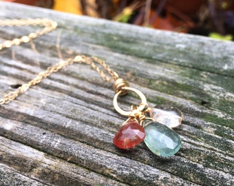 Moss Aquamarine, Andesine, Rutilated Quartz, Three Gemstone Pendant, 14k Gold Fill Necklace, Handmade Wire Wrap, 16 18 20 22 24 inch long