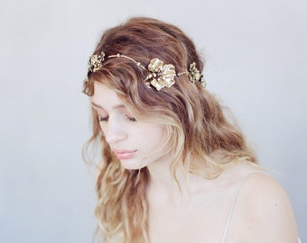Bridal headband - Wavy gilded and antique flower headband - Style 739 - Made to Order