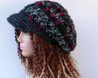 Sparkle Newsboy hat, visor cap, billed woman teen hat, Slouchy Beanie, slouchy hat, NEWSBOY cap, handmade crochet in gray pink metallic yarn