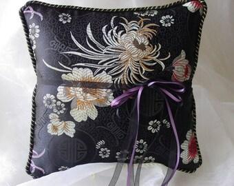 Elegant Asian Black Asters Ring Pillow-Asian Brocade-Black and Gold Asian Flowers & Symbols-Gold/Black Trim Ring Bearer-Ring Barer-Cushion