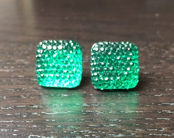 Sparkling Square Acrylic Green Post Earrings