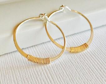 Petite Embellished Hoops.  Silver Hoop Earrings. Wire Wrapped Hoops. Simple Gold Hoops.  Small Hoop Earings. Minimalist Hoops