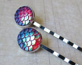 Mermaid Tales - Iridescent Ruby Mermaid Scale Hair Pins (2 pcs)