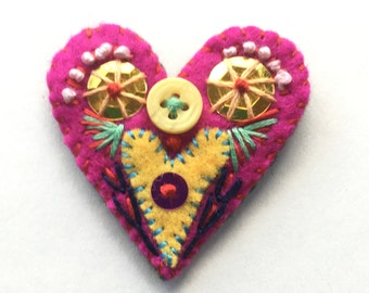 embellished heart pin, heart brooch, Valentine's Day, embroidered brooch, felt embroidery, felt accessories, lapel pin, scarf pin, gift