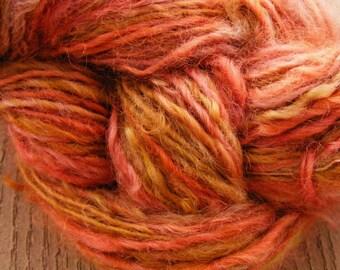 ROSE OAK Handspun Wool Yarn Fleecespun Coopworth 155yds 5.0oz 8wpi aspenmoonarts knitting art yarn hand spun pink artyarn