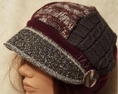 Hat in burgundy, grey and black