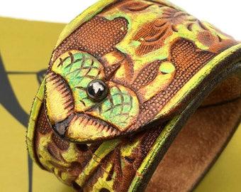 Acorn Tooled Leather Cuff Bracelet Wristband, Adjustable Size, Eco Friendly Recycled Belt, Leather Armband, Seattle Handmade, Unixex, OOAK