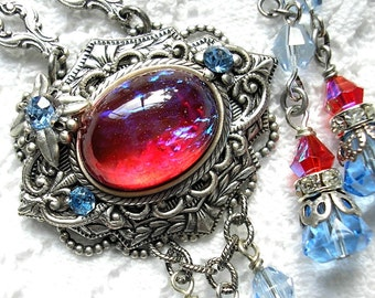 Fire and Ice - Mexican Glass Fire Opal Necklace Earring Set Dragons Breath Fireopal Antiqued Silver Adjustable