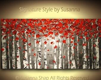 ORIGINAL Black White red birch tree Landscape Painting Autumn Aspen Abstract Art Palette Knife Impasto Canvas Artwork 48x24 -Susanna
