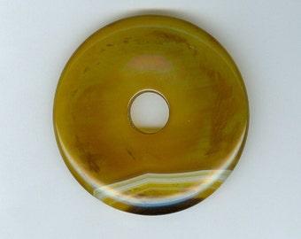 50mm Yellow and White Agate Gemstone PI Donut Focal Pendant Doughnut 1024M2