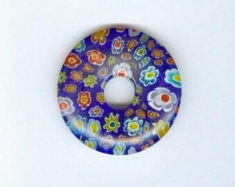 Blue Millefiori Donut 40mm Royal Blue Millefiori Glass Pi Donut Focal Pendant Flower Bead 585T