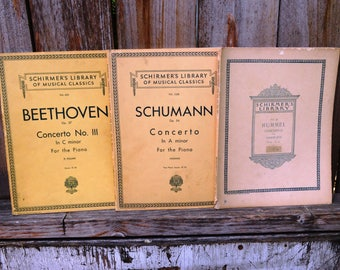 250 Pages (3 Books) of Antique Sheet Music - Beethoven, Shumann, Hummel