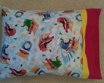 Handmade pillowcase travel Little Boy child toddler Thomas the Train pillow comfort bedroom neck support