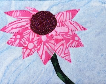 Fabric Postcard - Hot Pink Flower - Small Quilt Art - Greeting Card - Fiber Art - Flower Lover - Home Decor -  Mom Gift