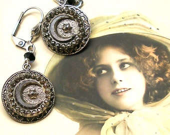 MOONLIGHT, Antique BUTTON earrings, Victorian glass Crescent Moon & Star, Button jewellery.