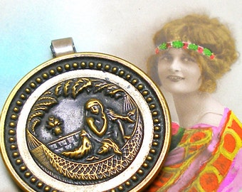 Cleopatra, 1800s BUTTON pendant, Victorian Mythology Storybook button. Antique button jewellery.