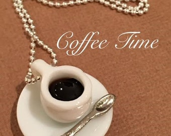 """COFFEE TIME Porcelain Pendant Necklace Miniature 24"""" Silver Plated Ball Chain 1.5mm Gift Idea Tea Jewelry Charm cup"""