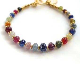 RESERVED for Nanci...Natural Umba Sapphire Sparkling Bracelet in 22kg Vermeil...