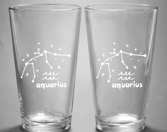 Aquarius Zodiac Constellation Pint Glass