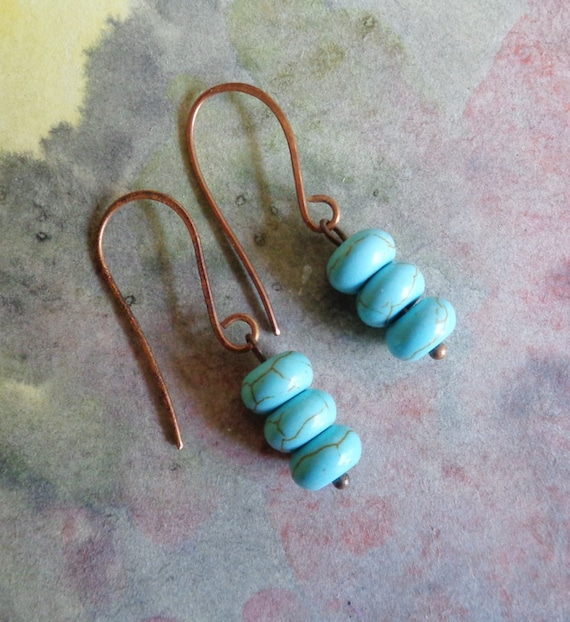 Stacked Turquoise Earrings  with Copper Ear Wires